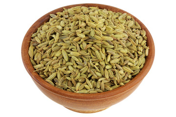 wooden bowl full of dried aromatic herb: Fennel seeds