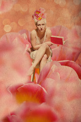 art collage with beautiful woman in tulips