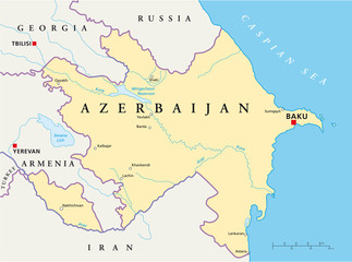 Azerbaijan political map with capital Baku, national borders, most important cities, rivers and lakes. English labeling and scaling. Illustration. Vector.