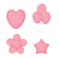 Pink shiny balloons, heart, flower and star