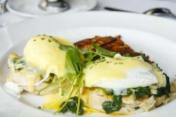 Eggs Florentine Benedict on White Plate