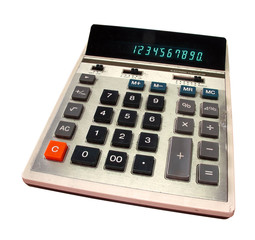 Old calculator with green digits isolated with clipping path