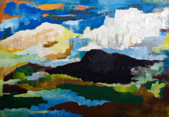 abstract mountain landscape - original painting oil on wood