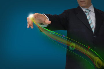 Business Man Pressing or Pushing on touch screen button or inter