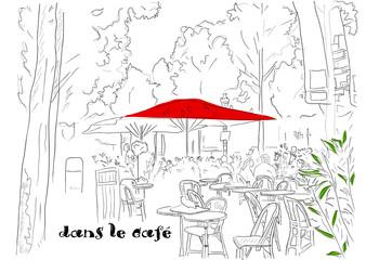 Foto op Canvas Illustratie Parijs Cafe on the Champs-Elysees 2.