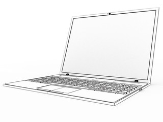 Drawing a laptop on a white background №1