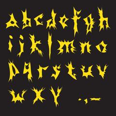 Yellow alphabet.