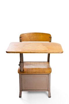 Vintage student desk isolated on white