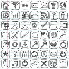 Web Icons Set Sketchy Notebook Doodles Design Elements