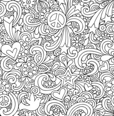 Seamless Notebook Doodles Psychedelic Groovy Pattern