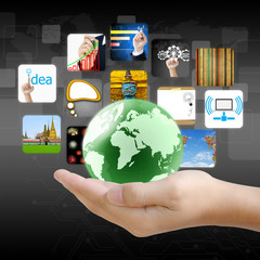 businessman hand holding world with image business collection.