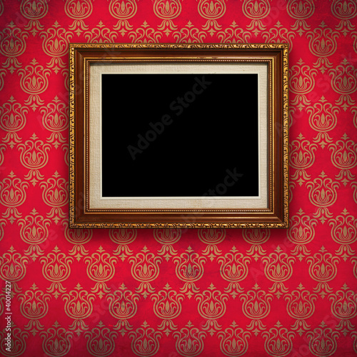 11592c22ef5 Gold frame with Red wallpaper background.