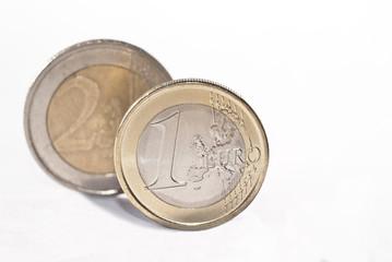 euro coins over white