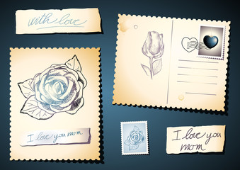 Postcards with roses set, eps8
