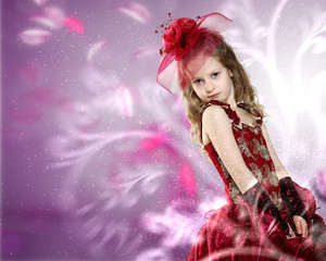 Little girl dressed up in beautiful dress