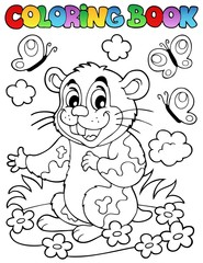 Coloring book with cartoon hamster