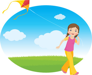 Girl with a kite running on the field