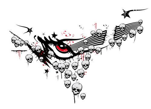 Skulls skeleton stack drawing black and white illustration