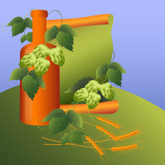 still life with hop plant and corn