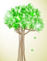Abstract tree with green leaves.