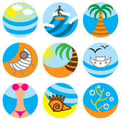 vacation on beach icons vector set