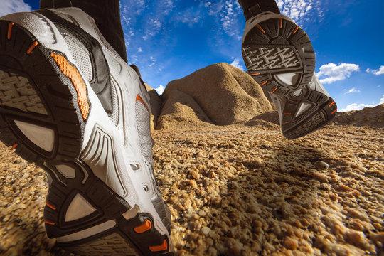 Trail Running on a Desert Landscape