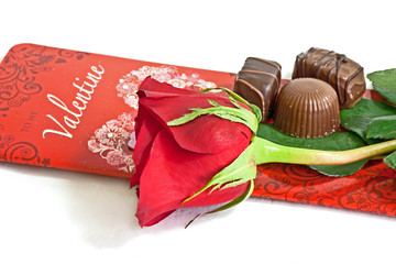 Valentine Card with Chocolate and Rose Horizontal