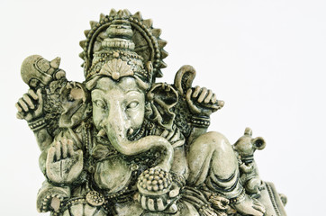 ganesh sculpture isolated on white background