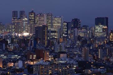 Skyline Tokio am Abend