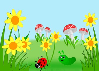 Poster de jardin Coccinelles Flowers, mushrooms, a ladybug and a caterpillar.