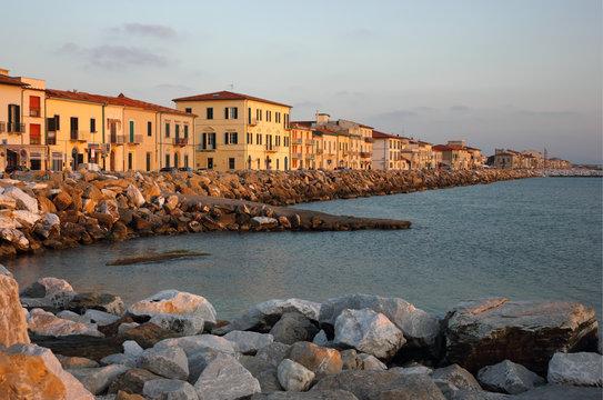 Marina di Pisa sunset view of the town