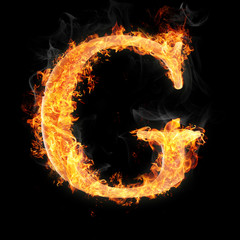 Fonts and symbols in fire on black - G