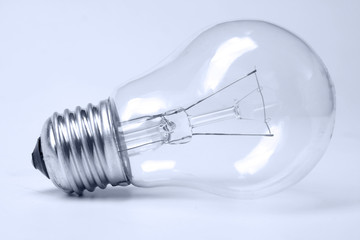 A glowing bulb, closeup, isolated on white