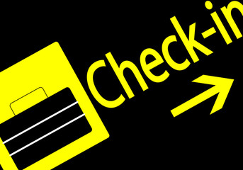 Direccion del check-in en el aeropuerto