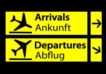 Señal de llegadas y salidas del aeropuerto en alemán
