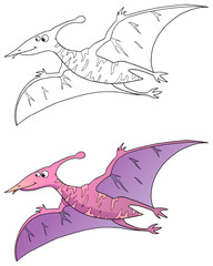 comic dinosaurier, pterodactylus, coloriert und outlines