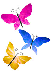 colorful butterflies isolated on white watercolors illustration