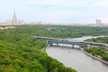 Moscow River, Luzhnetsky Bridge (Metro Bridge), MSU