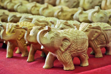 Handcraft wood elephant sculptures