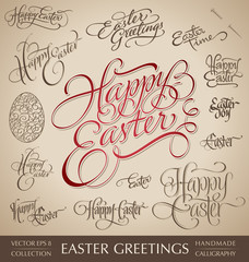 easter greetings hand lettering set (vector)