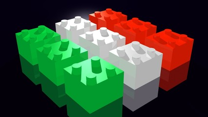 Italian flag made of Lego pieces - Bandiera italiana Lego