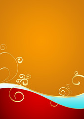 Holiday Background in Red and Orange with Golden Squiggles