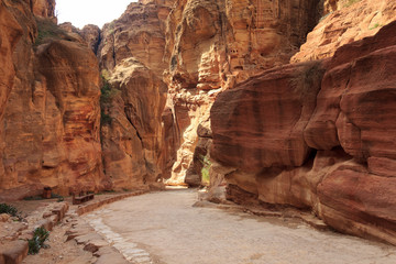 The Siq - ancient canyon in Petra, Jordan