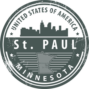 Grunge rubber stamp with name of Minnesota, St. Paul, vector