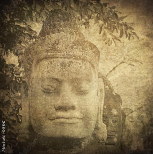 Wall mural Head of gate guardian, Angkor, Cambodia