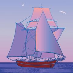 Sailboat in the sea. Vector art-illustration.