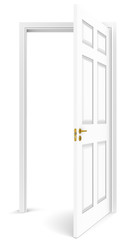 The door. Open white door. White background. Copy space.