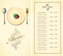 menu with raspberries on plate