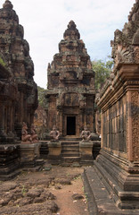 Prasats at the temple of Banteay Srei, Cambodia
