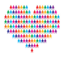 heart with people background, abstract vector illustration